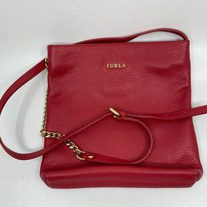Furla Maroon Leather Handbag